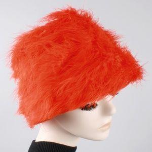 Vintage 60s Feather Bucket Basket Hat Mod